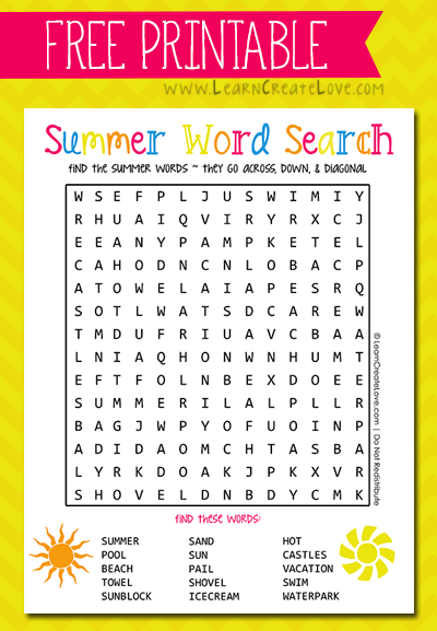 Printable Summer Word Search from LearnCreateLove.com ...