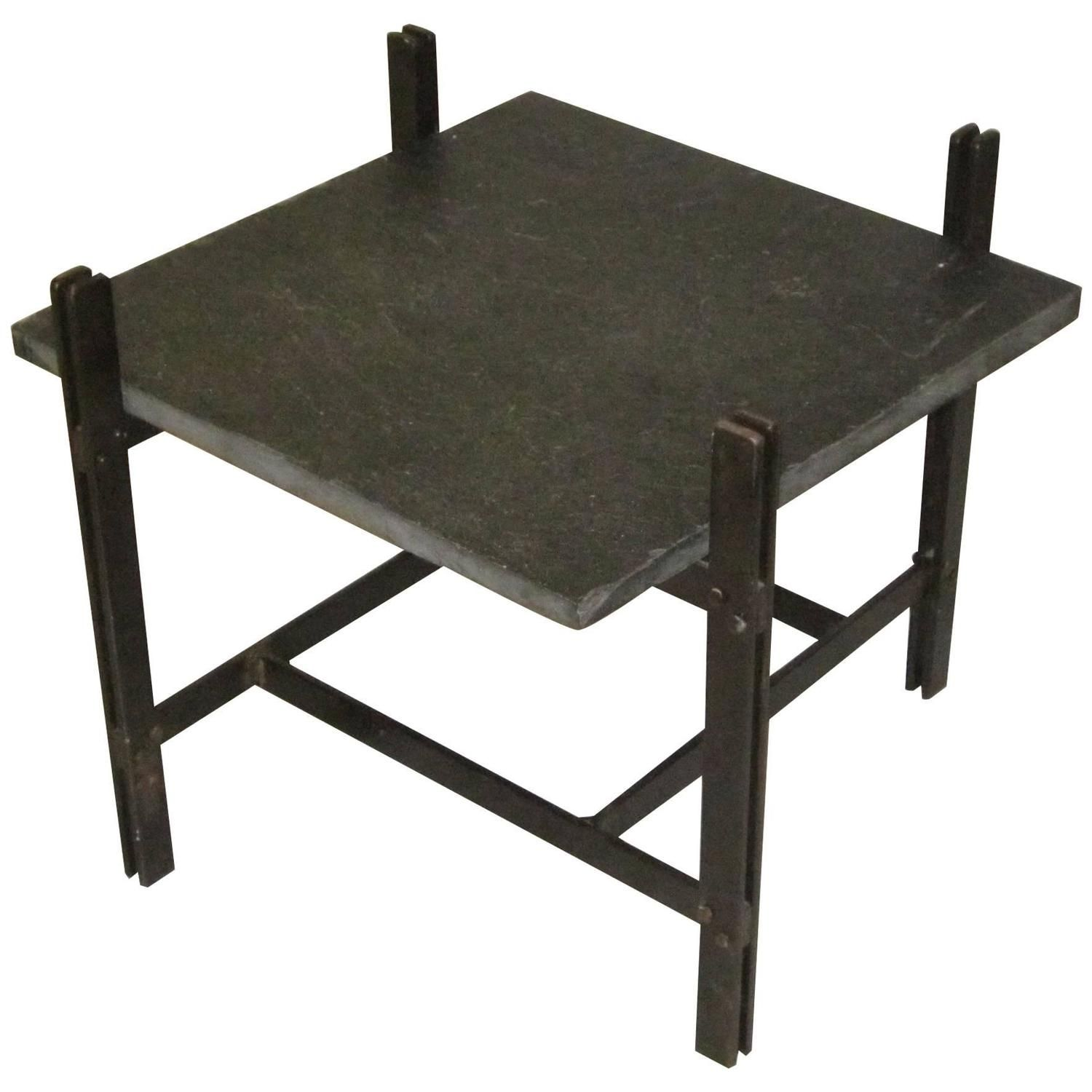 1960s Square Side Table With Slate Top Bronze Frame France Mid Century