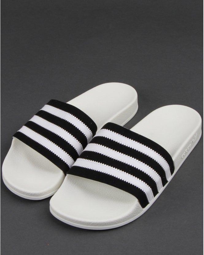 Adidas Adilette Slides Black/White   Adidas trainers, Adidas ...