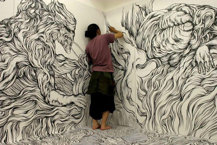 Dude Craft: Wall to Wall Marker Drawings