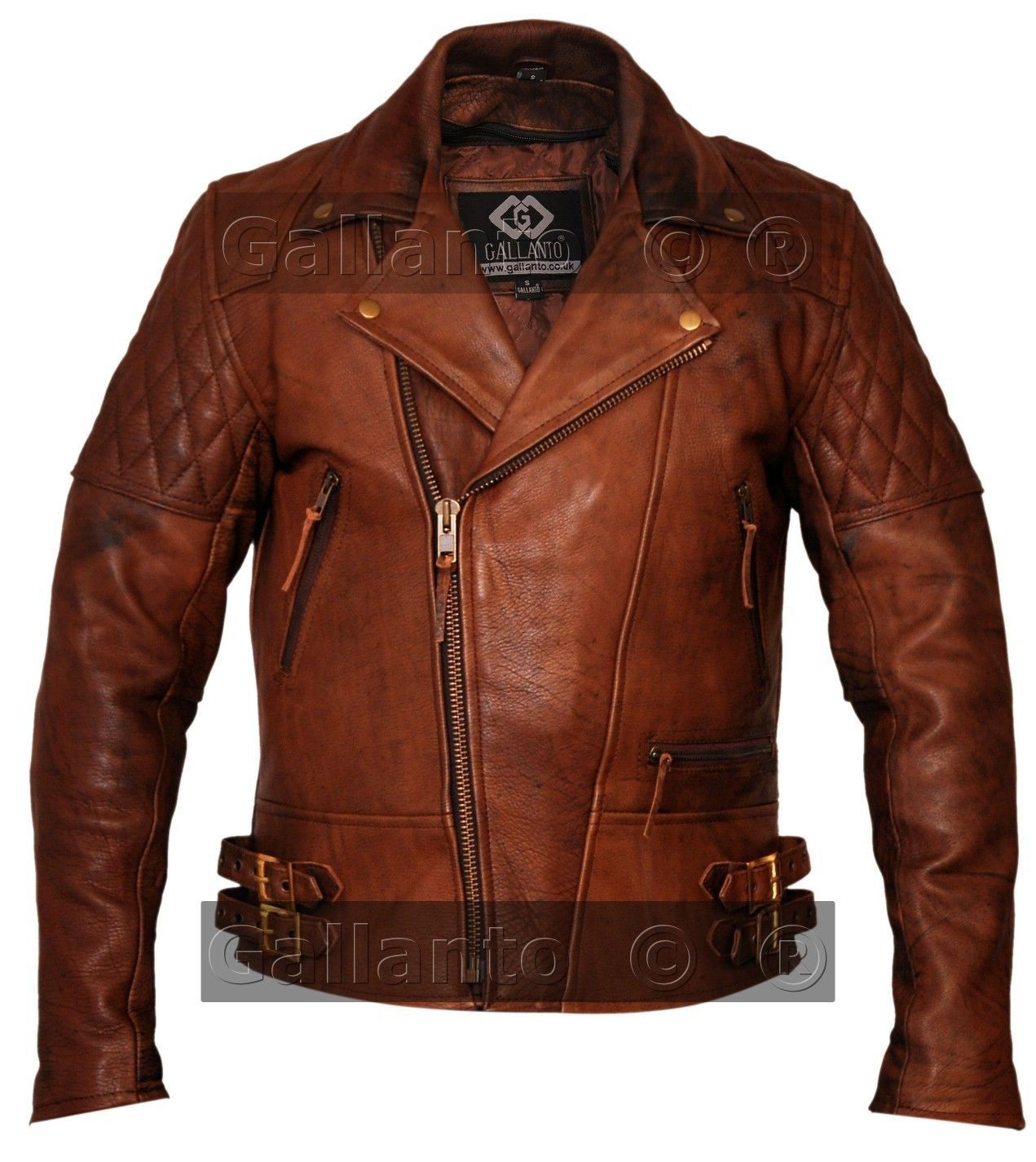 Vintage Brown Classic Diamond Biker Leather Jacket