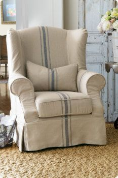 Chair Covers For Wingback Recliners Folding Chairs Bulk Chunky Baskets French Stripe Pillows Country Pinterest Soft Surroundings Linen Pillow Rolling Wicker Basket Reproduction Antique Slipcover
