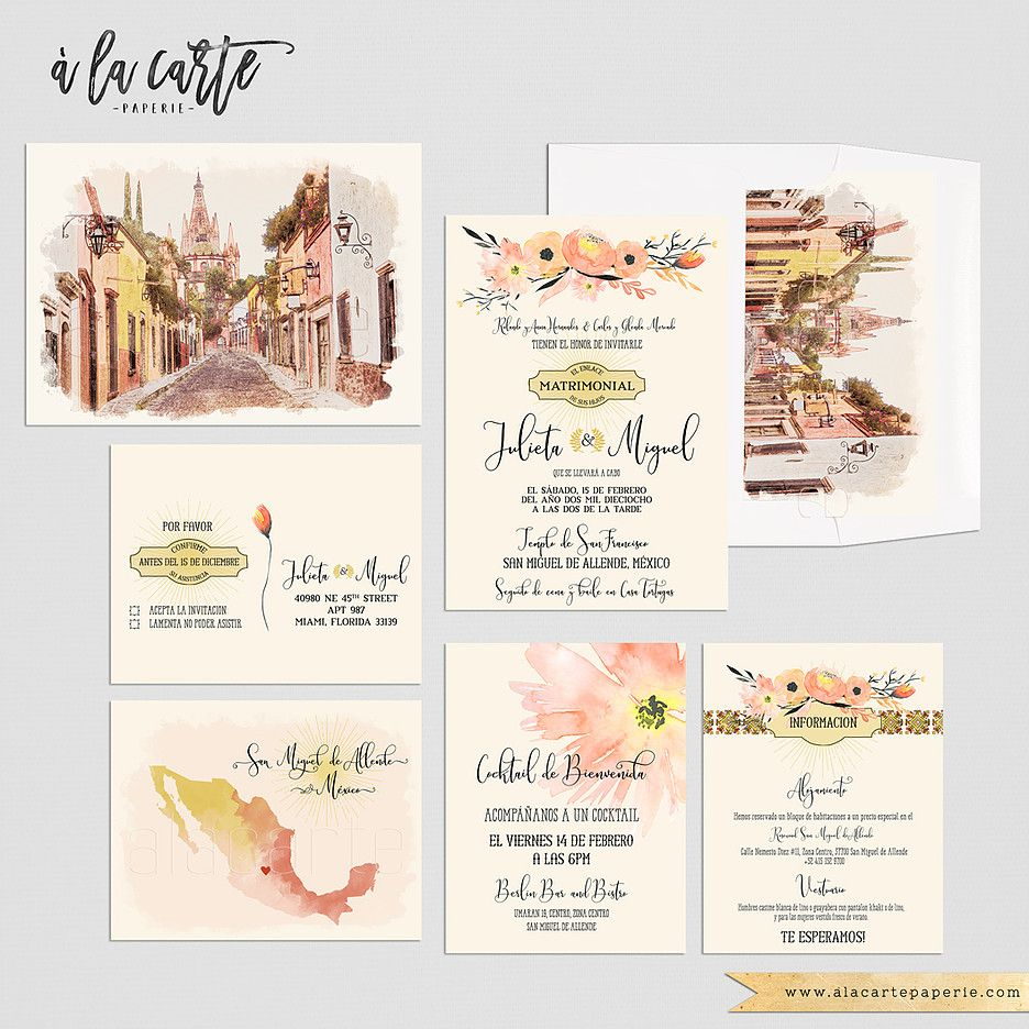 Mexico San Miguel De Allende Destination Wedding Traditional Mexican Ilrated Floral Terracotta Orange Yellow Wedding Invitation