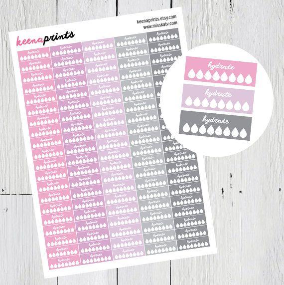 Hydrat bedruckbare Aufkleber weiches Pink-lila-grau von keenaprints ...