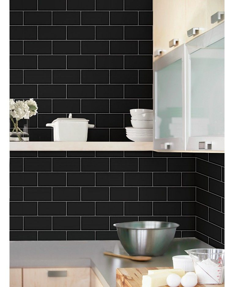 This Striking Subway Tile Effect Wallpaper Will Make A Great Feature