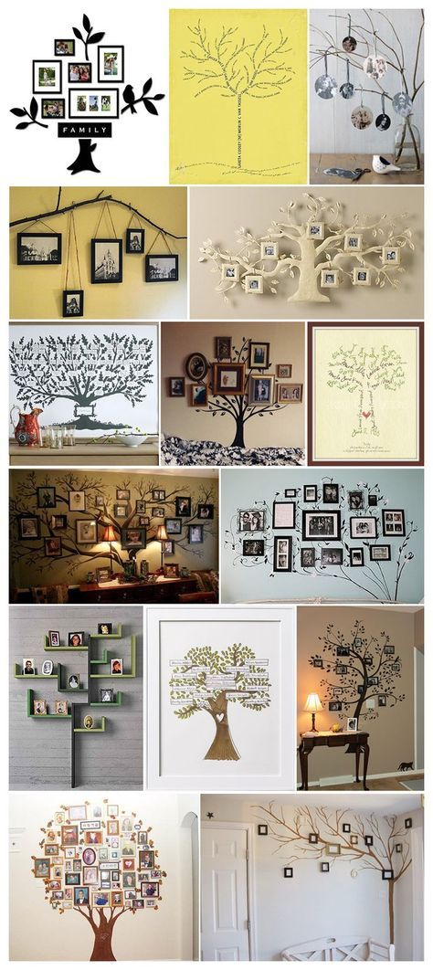 Lots of ideas of how to hang pics on a painted tree!
