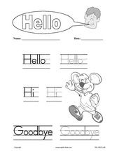 English for Kids,ESL Kids Worksheets, Greetings, Hello