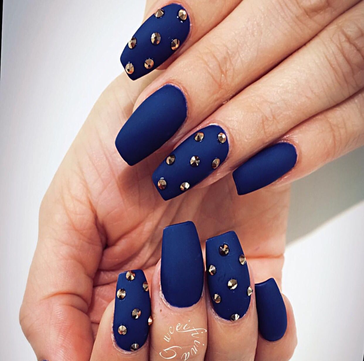Royal Blue Studded Matte Nails