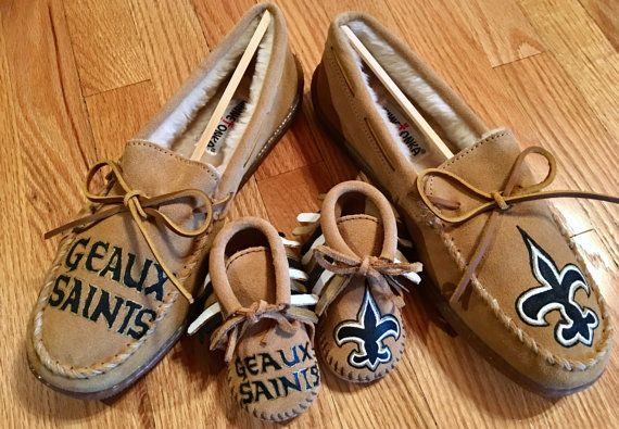 bb0cc062d80f9 Custom Daddy and Me New Orleans Saints Minnetonka Slippers and Baby ...