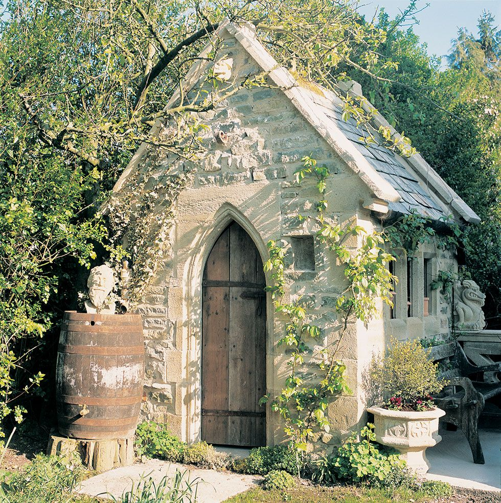 redwood stone shed in a gothic style cottage gardens pinterest