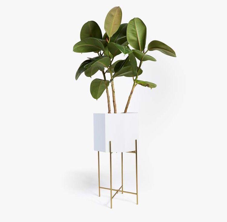 White Plant Pot On Gold Stand Zara Home Unique Home Accessories Home Interior Accessories Zara Home