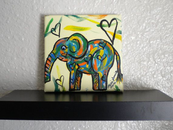 Colorful Elephant Original Painting Childrens by HeartsAndKeys, $20.00
