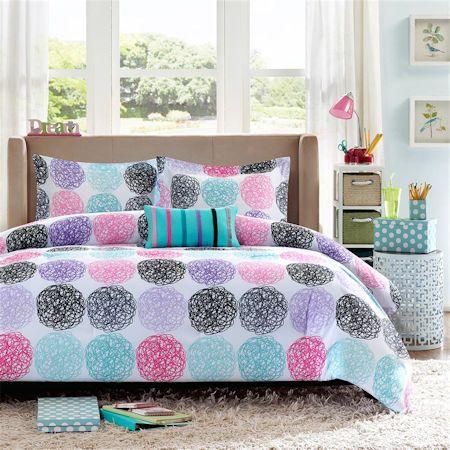 Hot Pink Blue Black Circles Girls Bedding Modern Geometric