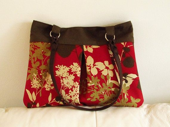 Brown and red pleated purse handbagshoulder bag by madebyHULDA,