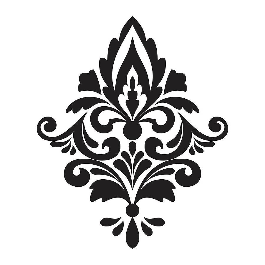 Damask Patterns on Swirl Border Stencil