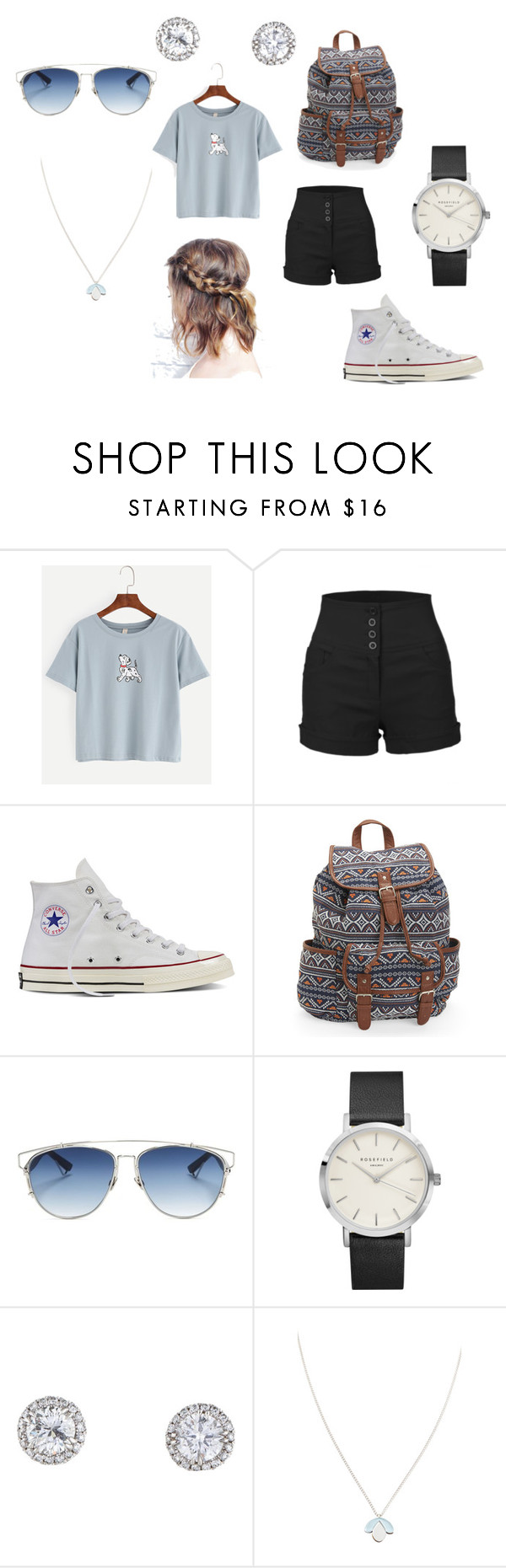 """""""Sin título #175"""" by lexie4199 ❤ liked on Polyvore featuring LE3NO, Converse, Aéropostale, Christian Dior and Wolf & Moon"""