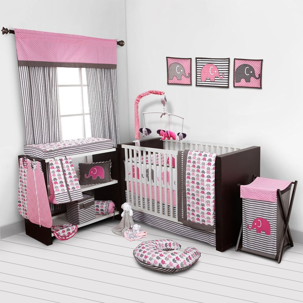 Baby Girl Bedroom Set Nursery Bedding Elephants Pink Grey 10 Pc Crib Infant R