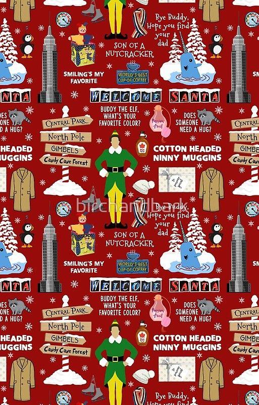 Buddy The Elf Collage Red Background Samsung Galaxy S20 Soft By Birchandbark Wallpaper Iphone Christmas Christmas Collage Cute Christmas Wallpaper