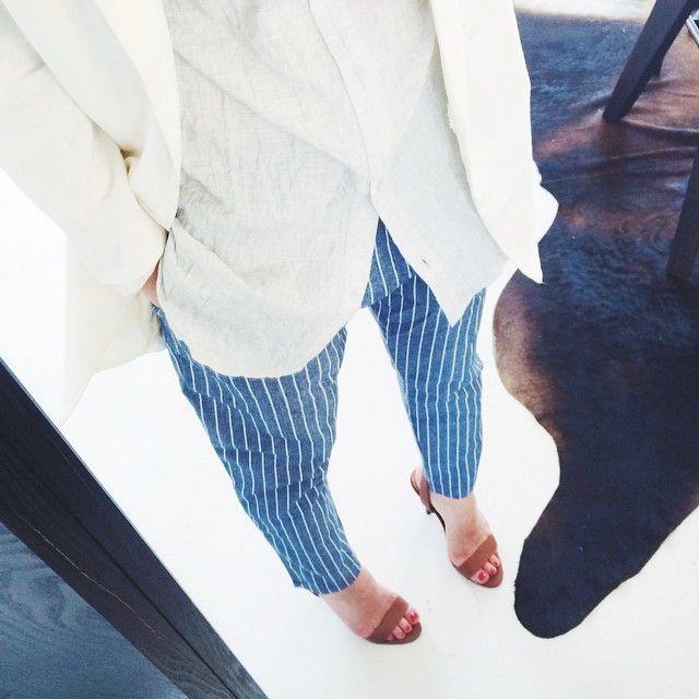 Silver Button Up Tunic + Drop Shoulder Linen Blazer + Boardwalk Cropped Trouser  #cotton #wherethelandmeetsthesea #layered #ootd #liveinit