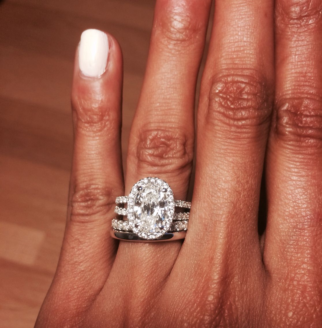 My complete bridal set is finally complete Oval diamond
