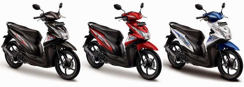 Honda BeAT eSP Sporty CBS FI hadir dengan 3 pilihan warna Hard Rock Black, Electro Red dan Funk White. Dengan fitur tambahan CBS (Combi Brake System) membuat sistem pengereman lebih optimal dan tepat. Untuk pemesanan dan informasi lebih lengkap silahkan kunjungi halaman kami.