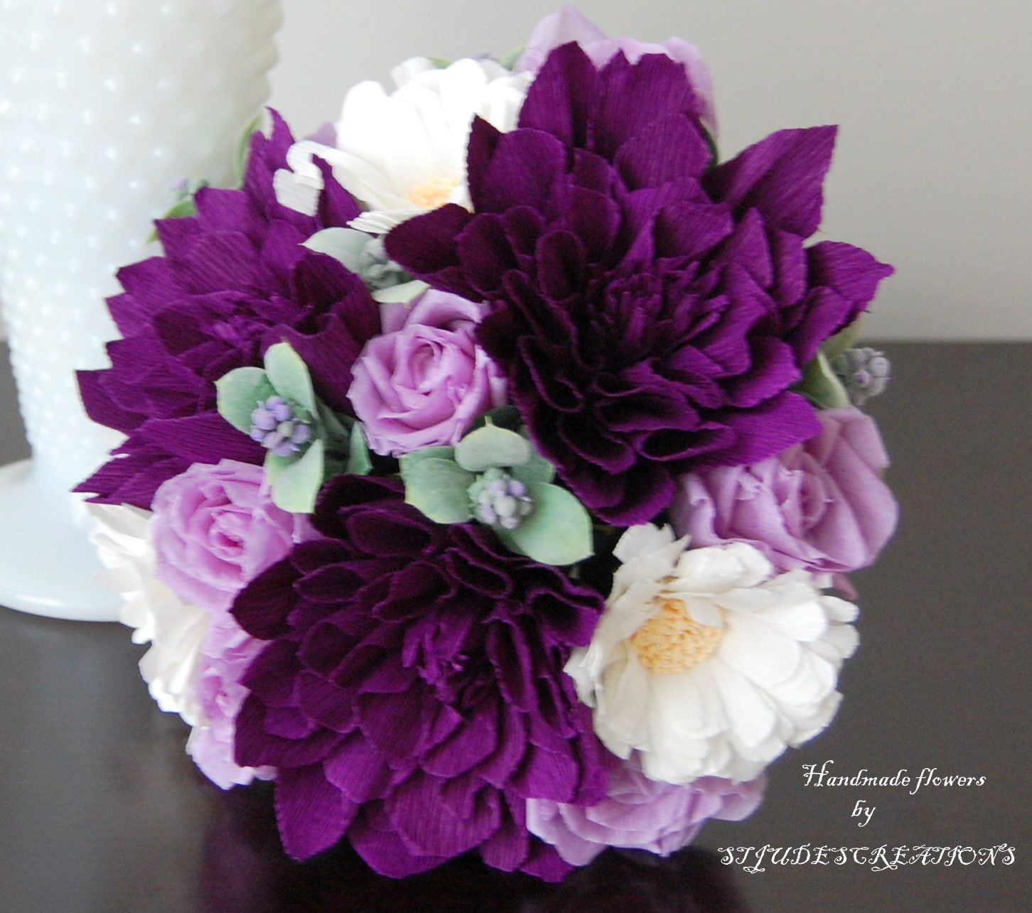 Purple Dahlia Wedding Bouquet Pee Handmade Flowers
