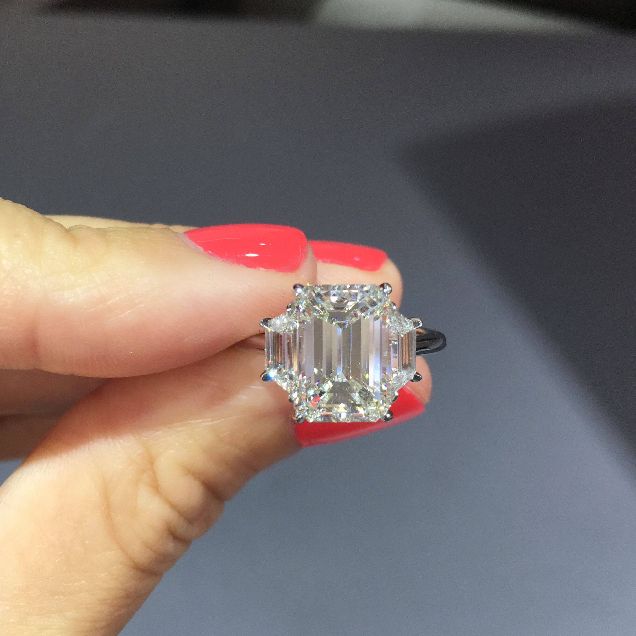 emerald cut trapezoid side engagement ring rings