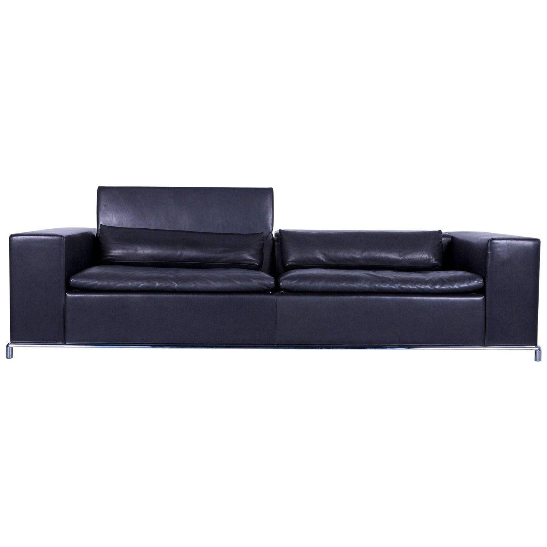 De Sede DS 7 Leather Sofa Black Three-Seat | My 1stdibs ...