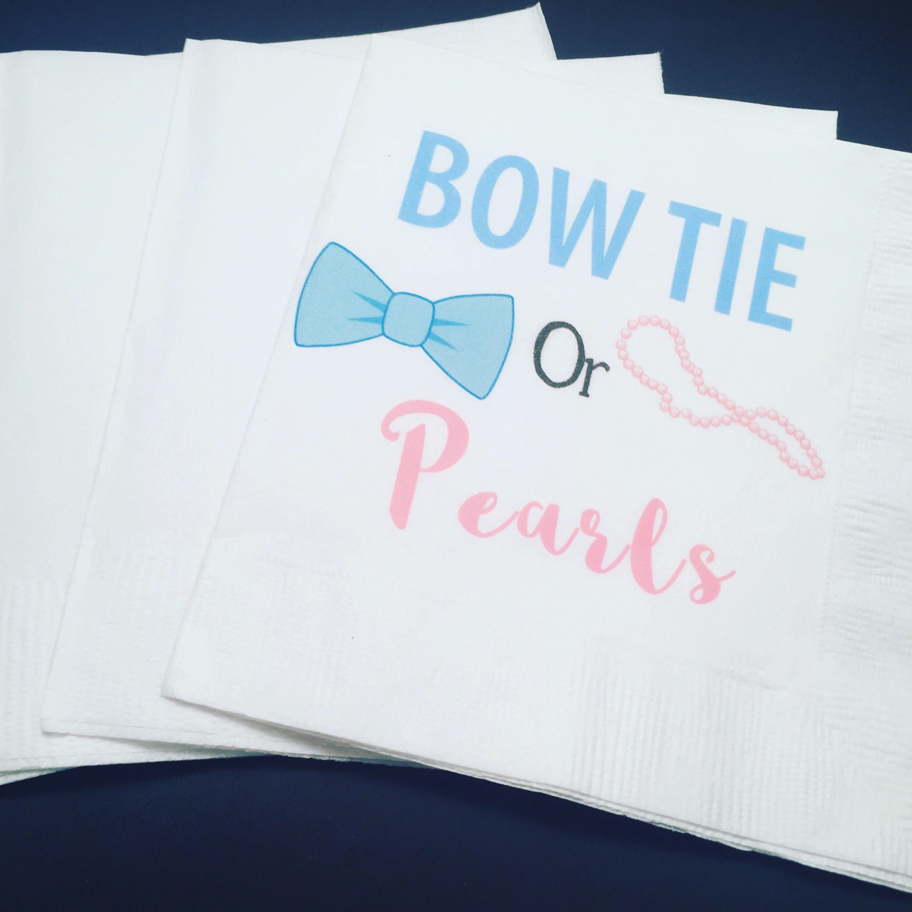 Set of 25 Bow Tie or Pearls Gender Reveal Baby Shower Cocktail