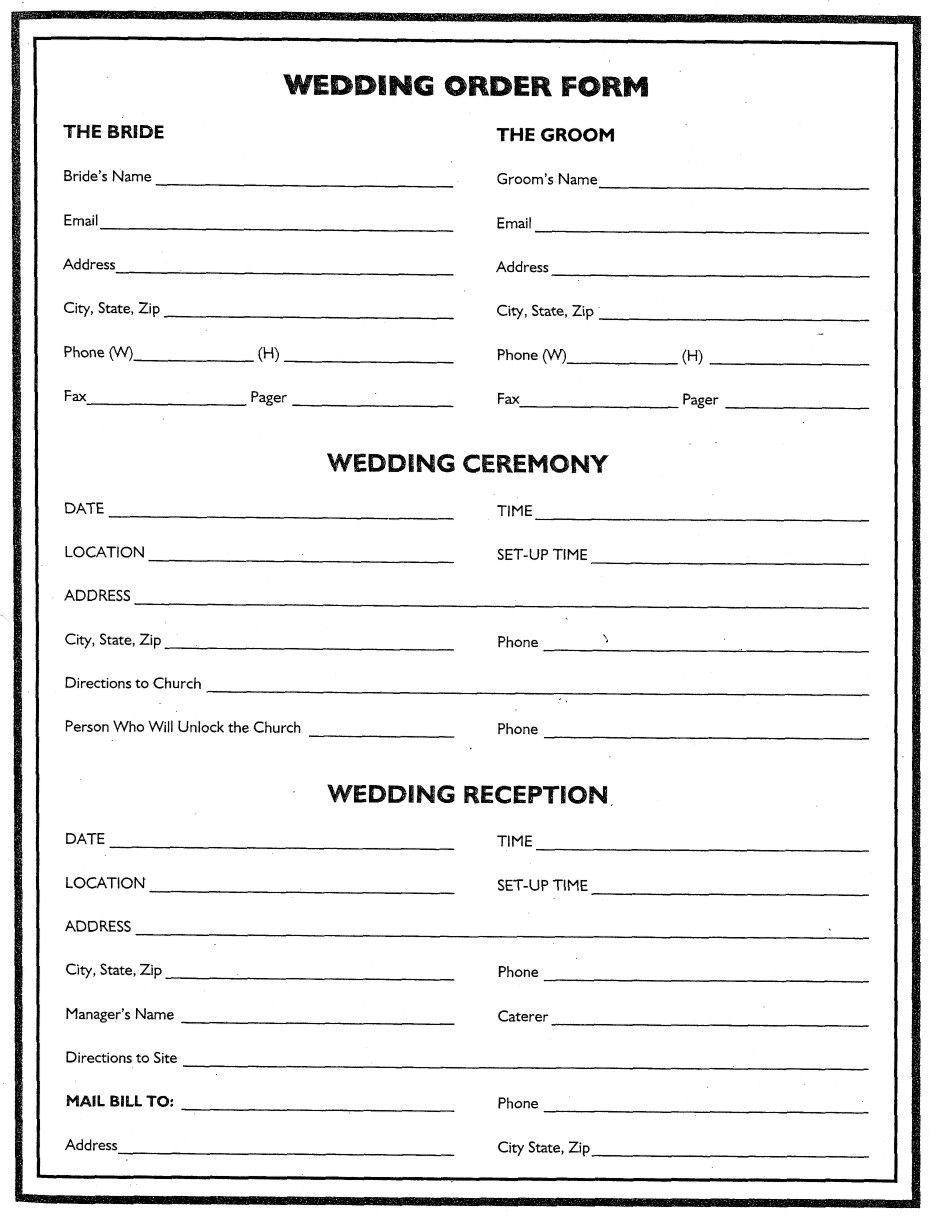 wedding flower planner wedding order form wedding ideas pinterest. Black Bedroom Furniture Sets. Home Design Ideas