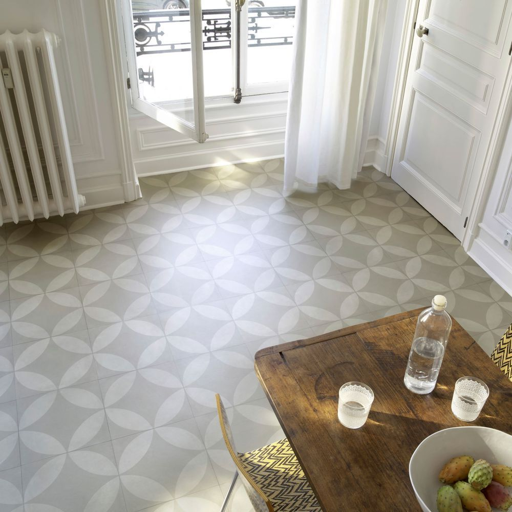 Un Sol Vinyle Imitation Carreaux De Ciment Dans La Salle A Manger Pvc Flooring Flooring Hallway Tiles Floor
