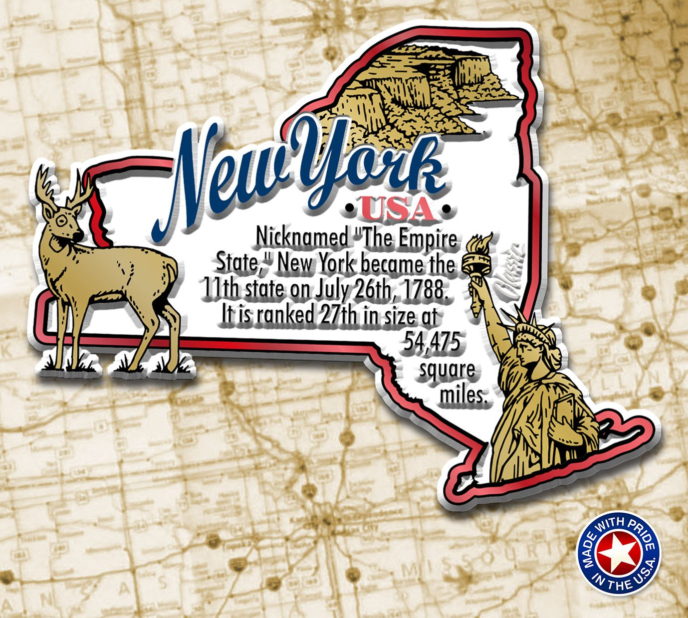 New York Information Map Magnet In
