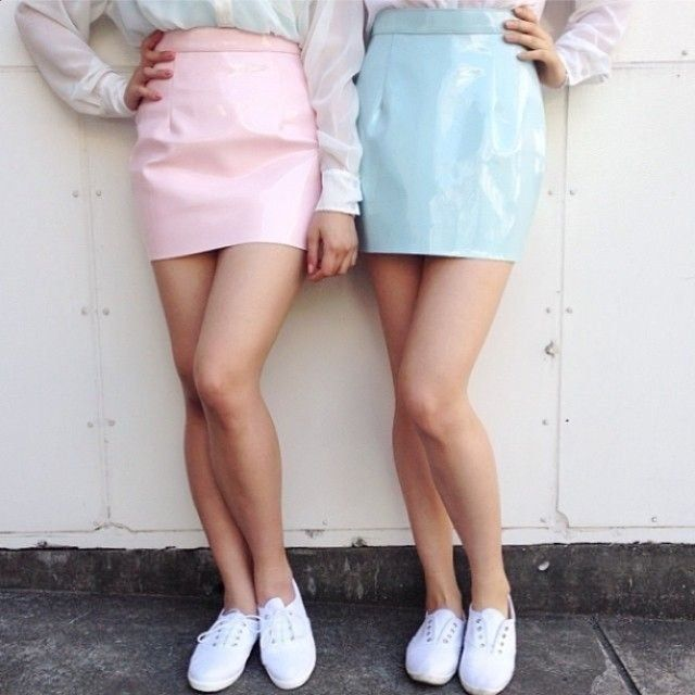 5569dae211cb90 American Apparel Vinyl Mini Skirt in Baby Light Pink or Blue (Size Small)