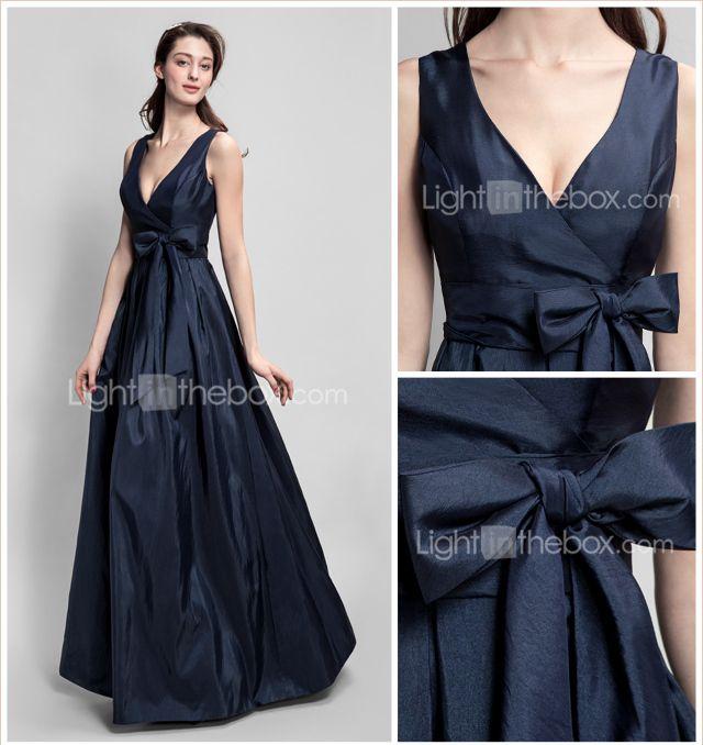 09a99e23fb Vestido de Madrinha - Azul Marinho Escuro Linha-A Decote em V Longo Tafetá  de 2015 por €104.49