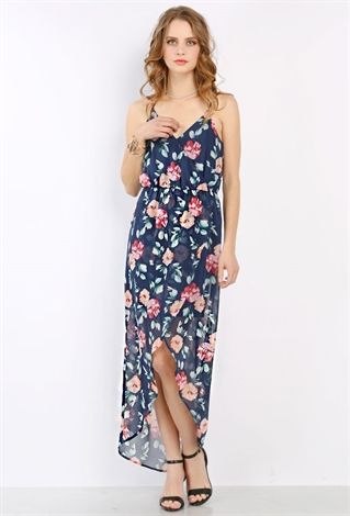 Flower Pattern Chiffon Maxi Dress | Shop Maxi Dresses at Papaya Clothing