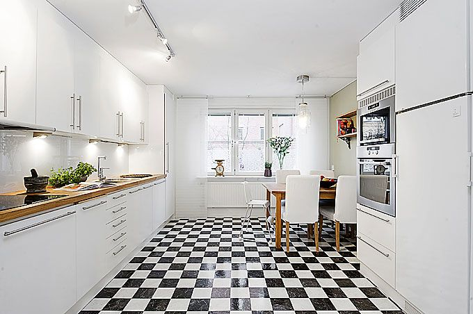 images about house kitchen checkerboard floors on,Black And White Kitchen Floor,Kitchen ideas