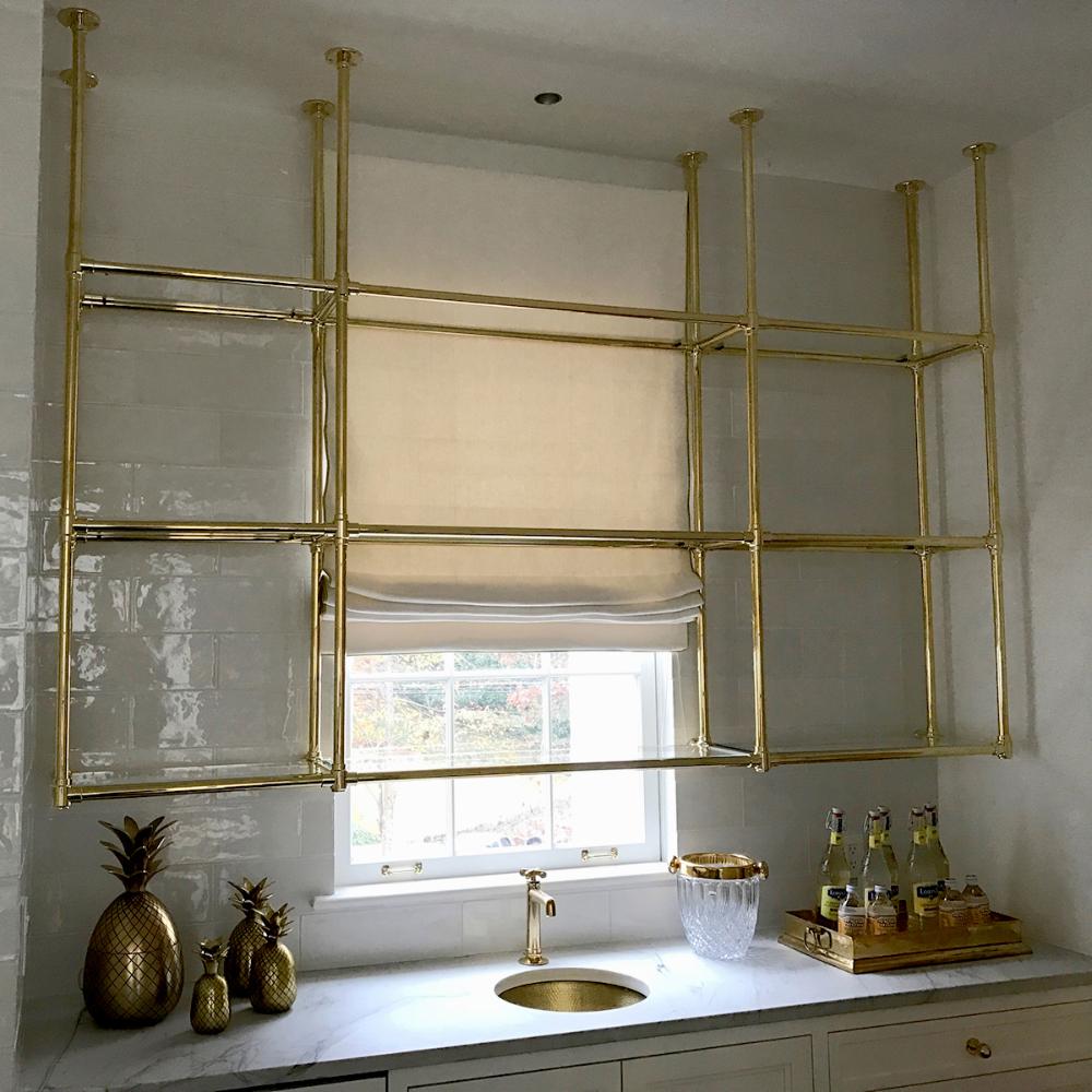 Custom Brass And Glass Kitchen Shelving Karpaty Cabinets Inc Ga Sinklegs In 2020 Glass Shelves Glass Shelves Kitchen Bistro Shelving