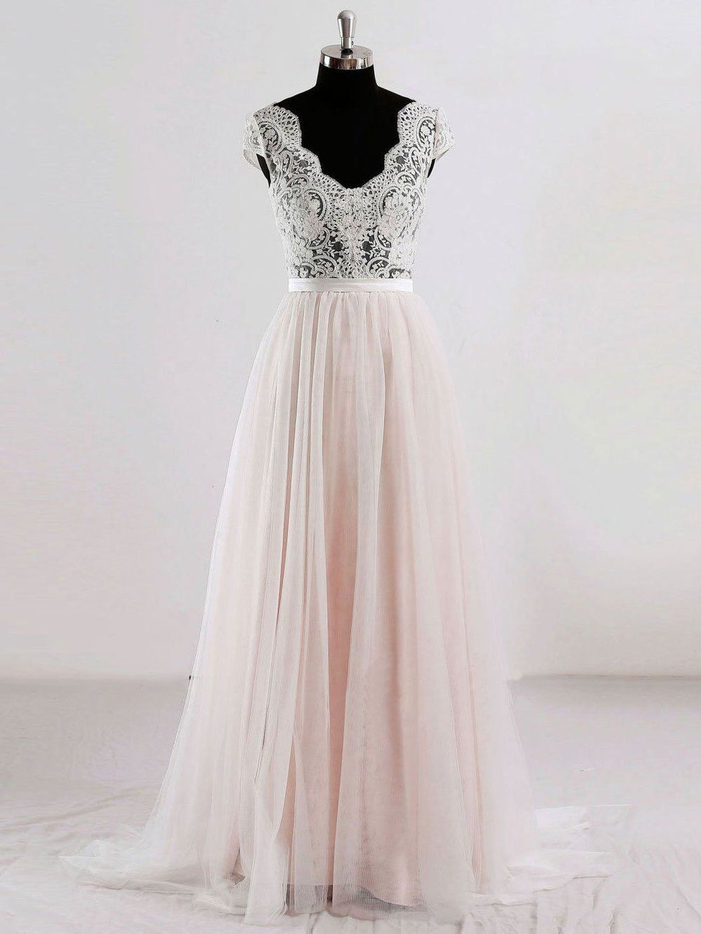 Cap sleeves v neck see through aline cheap wedding dresses online
