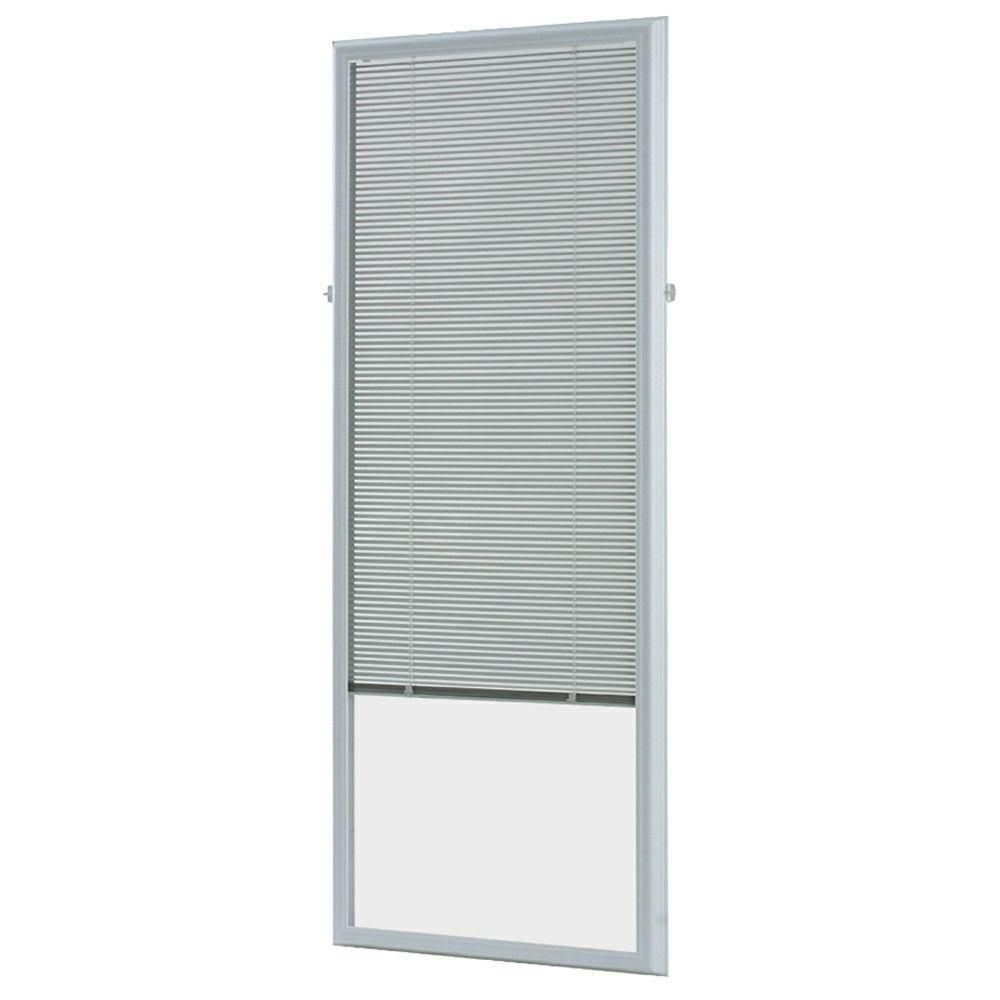 ODL White Cordless Add On Enclosed Aluminum Blinds with 1/2 in. Slats, for 22 in. Wide x 64 in. Length Door Windows
