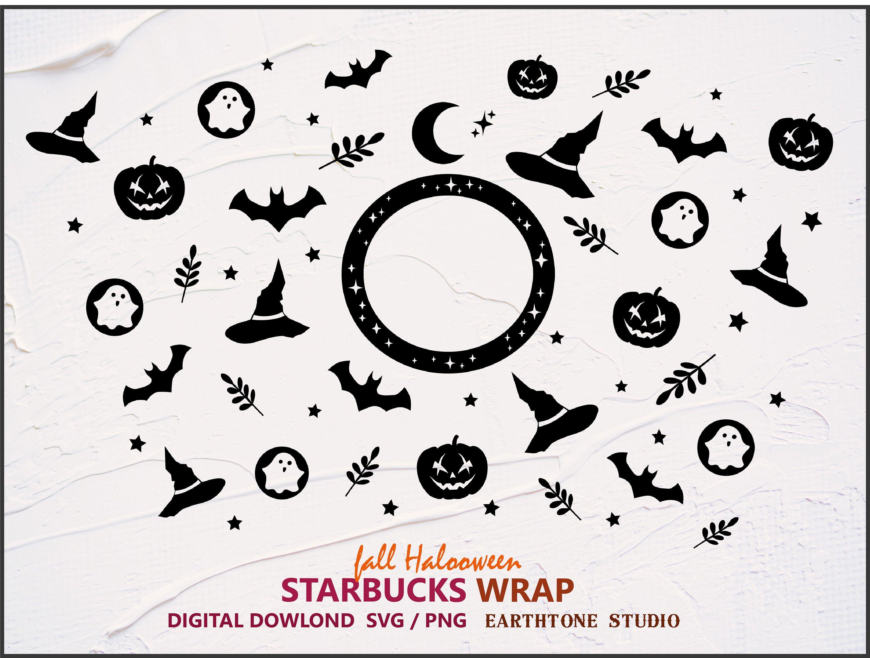 Fall Theme Halloween Full Wrap Svg For Starbucks Venti Cold Etsy In 2020 Starbucks Halloween Autumn Theme Cricut