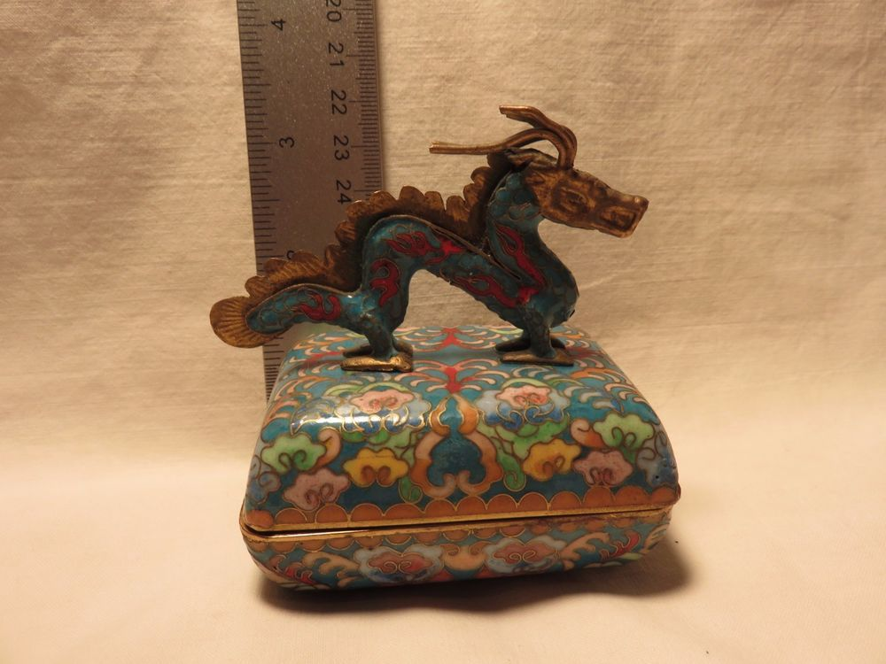 Cloisonne Dragon Metal Music Box Lid Chinese Tune 1992 Ardleigh Elliot