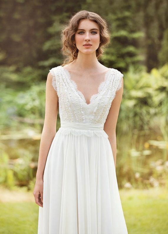 Designer Wedding Gown Bohemian Made From Chiffon French Lace Natural