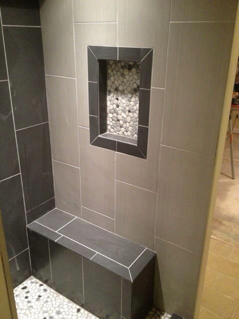 12x24 neos tile shower niche w pebble rock shower for Bathroom niche design