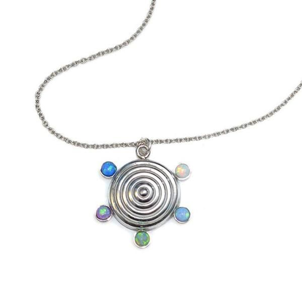 OPALS DROP CHARM NECKLACE SILVER