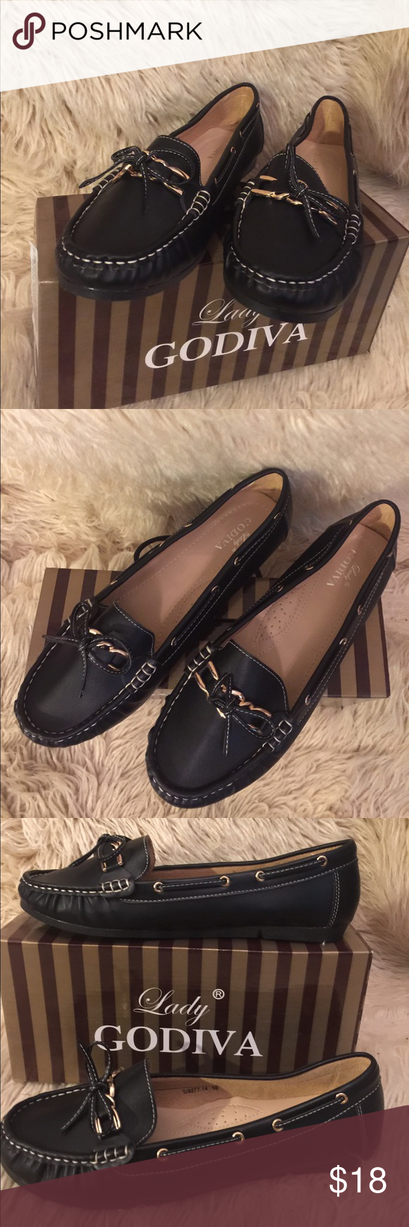 6b319749b849 Black LADY GODIVA Women s Boat Shoes NWT