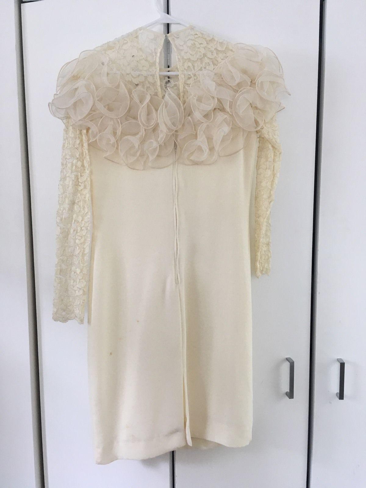 Vintage ivory short wedding dress evening cocktail dress s costume