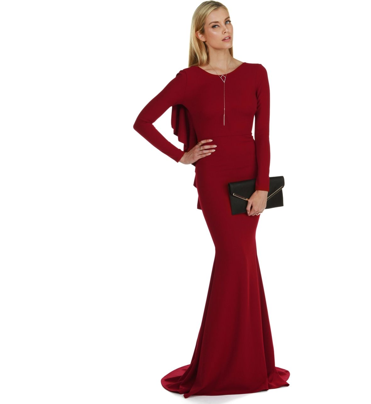 Sophisticated and elegant this dress features a high front neckline