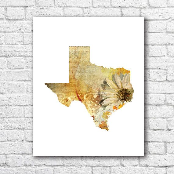 Texas State Map Art Print Very Unique and Original Wall Decor Floral ...