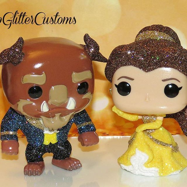 Custom Glittered Belle Beast Funko Pops Custom Funko Pop