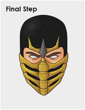 How To Draw Scorpion Scorpion Mortal Kombat Mortal Kombat Mask